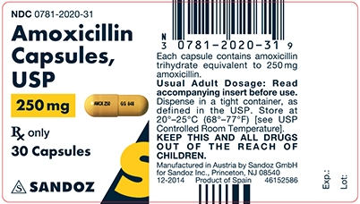 Amoxicillin 250 mg Capsule Label