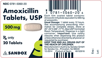 Amoxicillin 500 mg Tablet Label