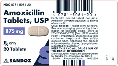 Amoxicillin 875 mg Tablet Label