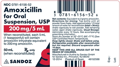 Amoxicillin 200 mg/5 mL Oral Suspension Label