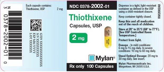 Thiothixene Capsules 2 mg Bottle Label