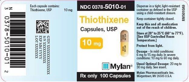 Thiothixene Capsules 10 mg Bottle Label
