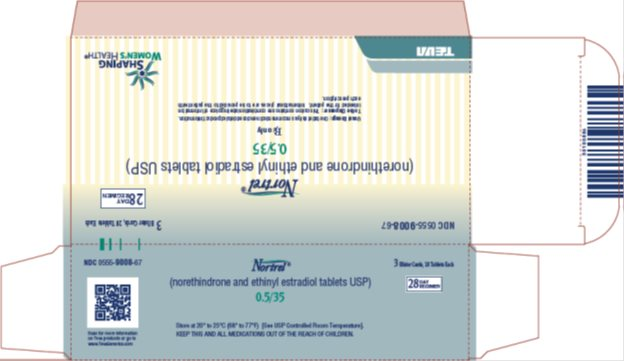 Nortrel® 0.5/35 (norethindrone and ethinyl estradiol tablets USP) 28 Day Regimen, 3 Blister Cards, 28 Tablets Each Carton, Part 1 of 2
