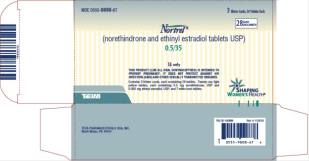 Nortrel® 0.5/35 (norethindrone and ethinyl estradiol tablets USP) 28 Day Regimen, 3 Blister Cards, 28 Tablets Each Carton, Part 2 of 2