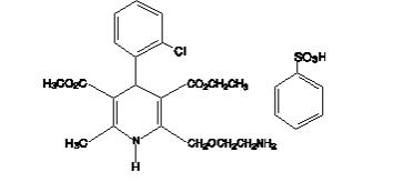 The structural formula for Amlodipine besylate, USP is a white to pale yellow crystalline powder, slightly soluble in water and sparingly soluble in ethanol. Its chemical name is (R,S)3-ethyl-5-methyl-2-(2-aminoethoxymethyl)-4-(2-chlorophenyl)-1,4-dihydro-6-methyl-3,5-pyridinedicarboxylate benzenesulfonate.
