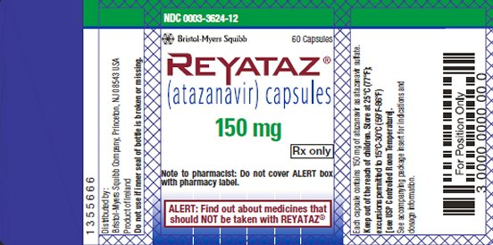 Reyataz 150 mg bottle label