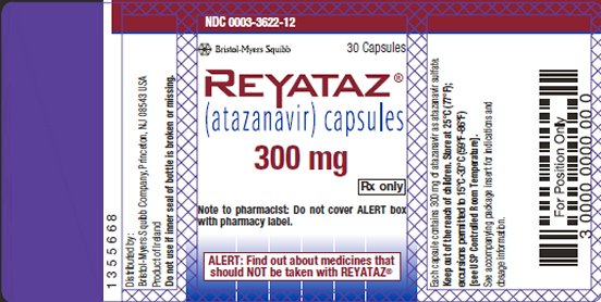 Reyataz 300 mg bottle label
