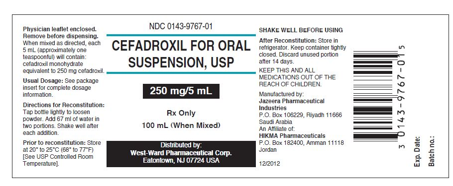 NDC: <a href=/NDC/0143-9767-01>0143-9767-01</a> Cefadroxil for Oral Suspension, USP 250 mg/5 mL Rx only 100 mL (When Mixed)