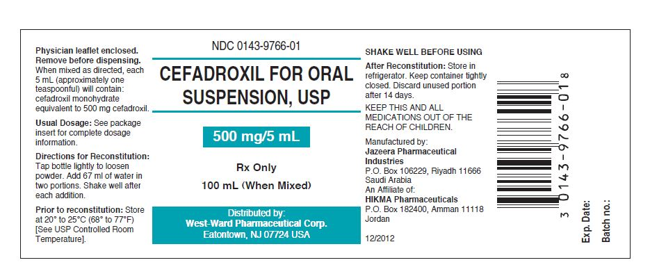 NDC: <a href=/NDC/0143-9766-01>0143-9766-01</a> Cefadroxil for Oral Suspension, USP 500 mg/5 mL Rx only 100 mL (When Mixed)