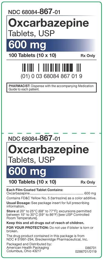 600 mg Oxcarbazepine Tablets USP Carton