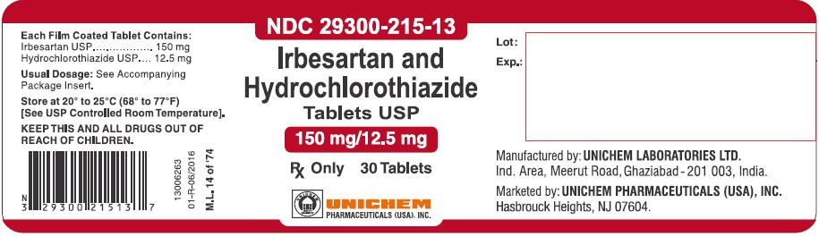 Container Label - Irbesartan and Hydrochlorothiazide Tablets 150 mg/12.5 mg-30 Tabs