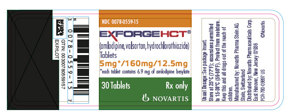 PRINCIPAL DISPLAY PANEL Package Label – 5 mg / 160 mg / 12.5 mg Rx OnlyNDC: <a href=/NDC/0078-0559-15>0078-0559-15</a> Exforge HCT®  (amlodipine, valsartan, hydrochlorothiazide) 5 mg* / 160 mg / 12.5 mg *each tablet contains 6.9 mg of amlodipine besylate 30 Tablets