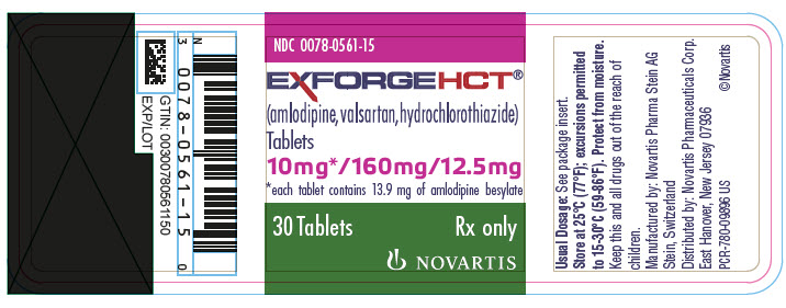PRINCIPAL DISPLAY PANEL Package Label – 10 mg / 160 mg / 12.5 mg Rx OnlyNDC: <a href=/NDC/0078-0561-15>0078-0561-15</a> Exforge HCT®  (amlodipine, valsartan, hydrochlorothiazide) 10 mg* / 160 mg / 12.5 mg *each tablet contains 13.9 mg of amlodipine besylate 30 Tablets