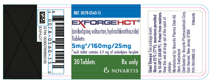 PRINCIPAL DISPLAY PANEL Package Label – 5 mg / 160 mg / 25 mg Rx OnlyNDC: <a href=/NDC/0078-0560-15>0078-0560-15</a> Exforge HCT®  (amlodipine, valsartan, hydrochlorothiazide) 5 mg* / 160 mg / 25 mg *each tablet contains 6.9 mg of amlodipine besylate 30 Tablets