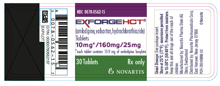 PRINCIPAL DISPLAY PANEL Package Label – 10 mg / 160 mg / 25 mg Rx OnlyNDC: <a href=/NDC/0078-0562-15>0078-0562-15</a> Exforge HCT®  (amlodipine, valsartan, hydrochlorothiazide) 10 mg* / 160 mg / 25 mg *each tablet contains 13.9 mg of amlodipine besylate 30 Tablets