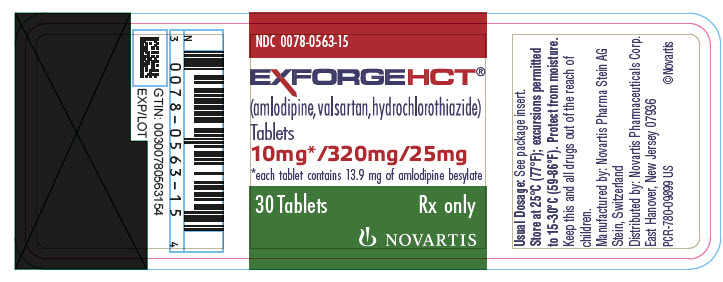 PRINCIPAL DISPLAY PANEL Package Label – 10 mg / 320 mg / 25 mg Rx OnlyNDC: <a href=/NDC/0078-0563-15>0078-0563-15</a> Exforge HCT®  (amlodipine, valsartan, hydrochlorothiazide) 10 mg* / 320 mg / 25 mg *each tablet contains 13.9 mg of amlodipine besylate 30 Tablets