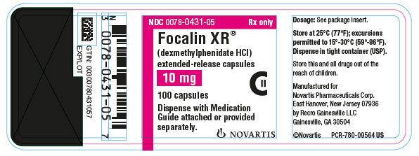 PRINCIPAL DISPLAY PANEL NDC: <a href=/NDC/0078-0431-05>0078-0431-05</a> Rx only Focalin XR® (dexmethylphenidate HCl) extended-release capsules 10 mg 100 capsules Dispense with Medication Guide attached or provided separately. NOVARTIS