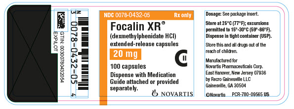 PRINCIPAL DISPLAY PANEL NDC: <a href=/NDC/0078-0432-05>0078-0432-05</a> Rx only Focalin XR® (dexmethylphenidate HCl) extended-release capsules 20 mg 100 capsules Dispense with Medication Guide attached or provided separately. NOVARTIS