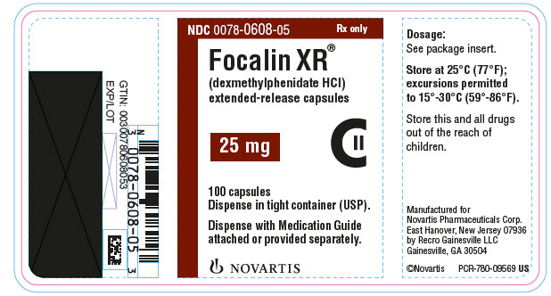 PRINCIPAL DISPLAY PANEL NDC: <a href=/NDC/0078-0608-05>0078-0608-05</a> Rx only Focalin XR® (dexmethylphenidate HCl) extended-release capsules 25 mg 100 capsules Dispense in tight container (USP). Dispense with Medication Guide attached or provided separately. NOVARTIS