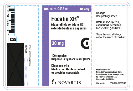 PRINCIPAL DISPLAY PANEL NDC: <a href=/NDC/0078-0433-05>0078-0433-05</a> Rx only Focalin XR® (dexmethylphenidate HCl) extended-release capsules 30 mg 100 capsules Dispense in tight container (USP). Dispense with Medication Guide attached or provided separately. NOVARTIS