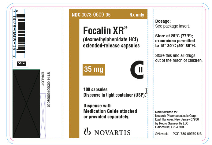 PRINCIPAL DISPLAY PANEL NDC: <a href=/NDC/0078-0609-05>0078-0609-05</a> Rx only Focalin XR® (dexmethylphenidate HCl) extended-release capsules 35 mg 100 capsules Dispense in tight container (USP). Dispense with Medication Guide attached or provided separately. NOVARTIS