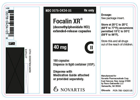 PRINCIPAL DISPLAY PANEL NDC: <a href=/NDC/0078-0434-05>0078-0434-05</a> Rx only Focalin XR® (dexmethylphenidate HCl) extended-release capsules 40 mg 100 capsules Dispense in tight container (USP). Dispense with Medication Guide attached or provided separately. NOVARTIS