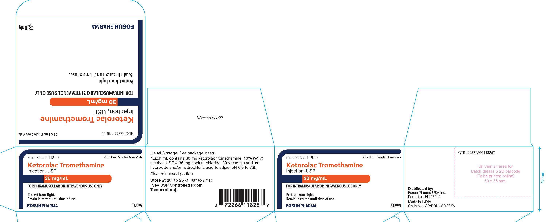Ketorolac Carton Label 30 mg/mL