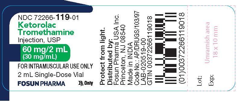 Ketorolac Vial Label 60 mg/2 mL