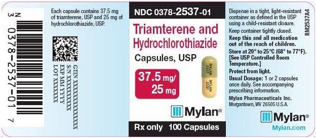 Triamterene and Hydrochlorothiazide Capsules, USP 37.5 mg/25 mg Bottle Label