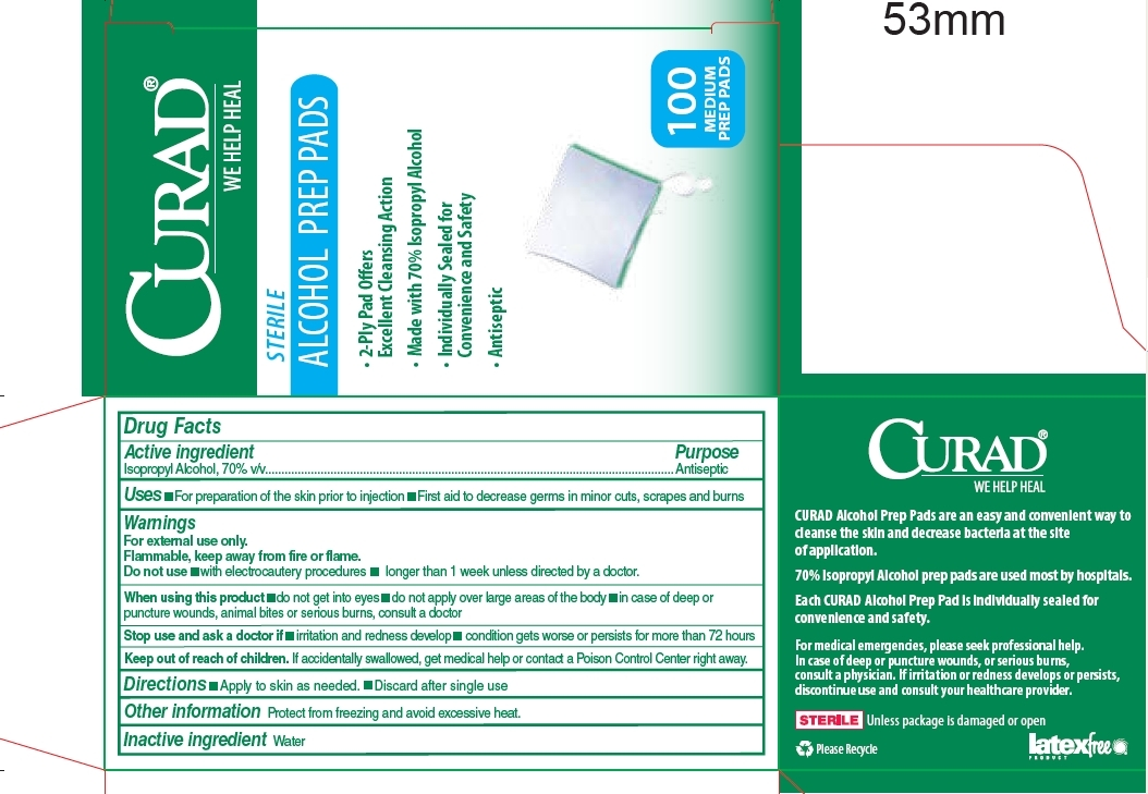 Package Label - Back Curade Alcohol Prep Pads