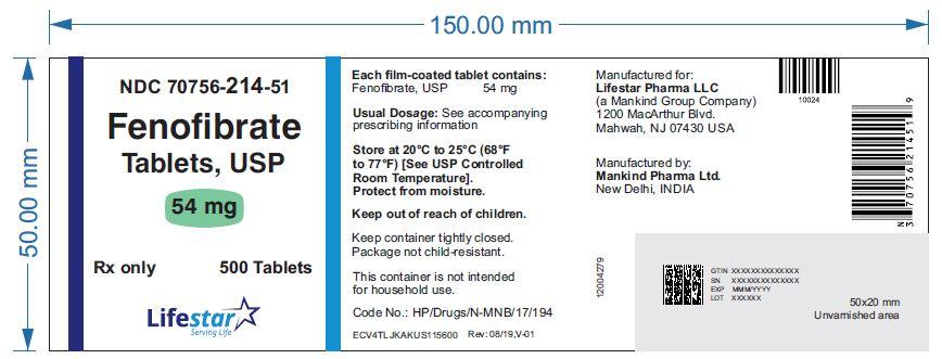 Fenofibrate Tablets 54 mg Bottle Label