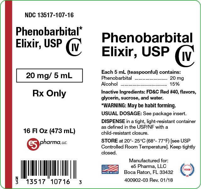 This is the label for Phenobarbital Elixir, USP 1 pint (473mL).