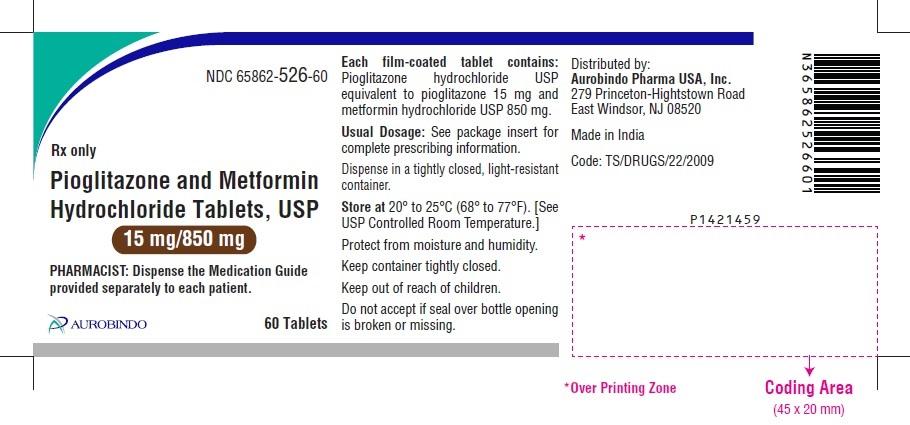PACKAGE LABEL-PRINCIPAL DISPLAY PANEL - 15 mg/850 mg (60 Tablet Bottle)