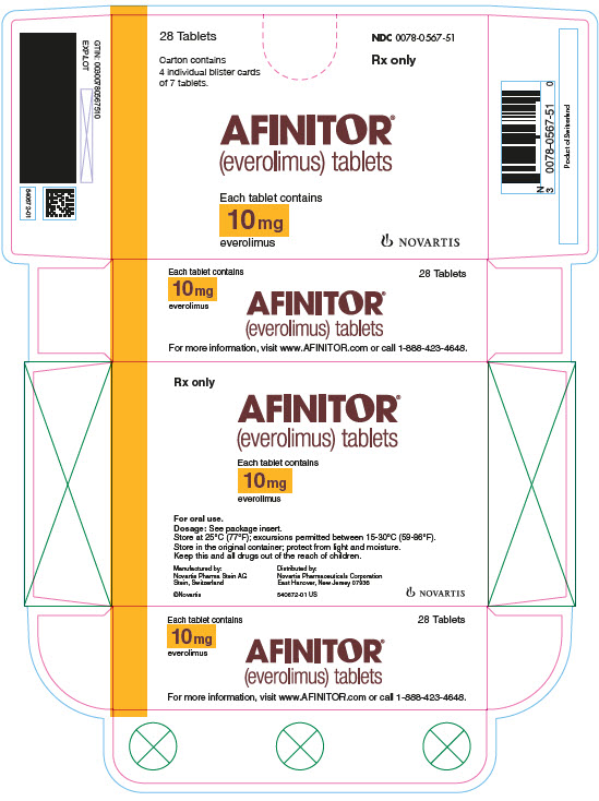 PRINCIPAL DISPLAY PANEL Package Label – 10 mg Rx OnlyNDC: <a href=/NDC/0078-0567-51>0078-0567-51</a> Afinitor® (everolimus) Tablets Each tablet contains 10 mg everolimus 28 Tablets Carton contains 4 individual blister cards of 7 tablets.