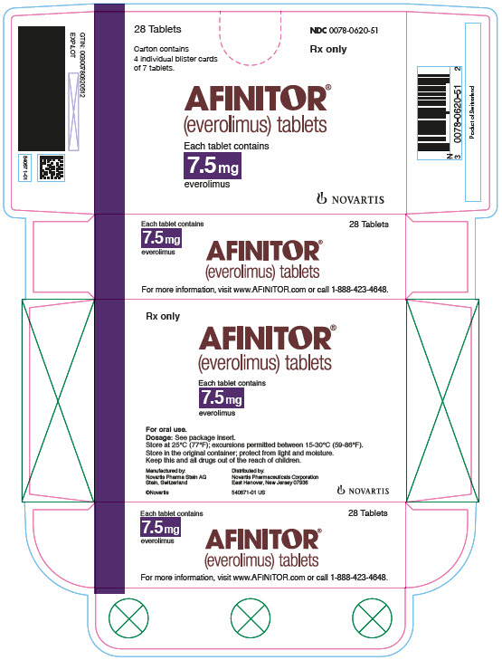 PRINCIPAL DISPLAY PANEL Package Label – 7.5 mg Rx OnlyNDC: <a href=/NDC/0078-0620-51>0078-0620-51</a> Afinitor® (everolimus) Tablets Each tablet contains 7.5 mg everolimus 28 Tablets Carton contains 4 individual blister cards of 7 tablets.