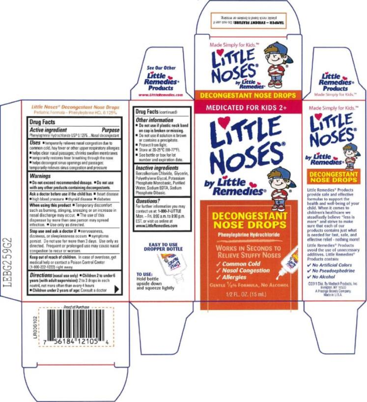 MEDICATED FOR KIDS 2+ Little Noses® by Little Remedies® DECONGESTANT NOSE DROPS Phenylephrine Hydrochloride GENTLE 1/8% FORMULA, NO ALCOHOL ½ FL. OZ. (15 mL)