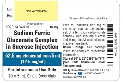 PLB868-WES/1 NDC: <a href=/NDC/0143-9570-10>0143-9570-10</a> Rx only Sodium Ferric Gluconate Complex in Sucrose Injection 62.5 mg elemental iron/5 mL (12.5 mg/mL) For Intravenous Use Only 10 x 5 mL Single Dose Vials Each mL contains 12.5 mg of elemental iron as the sodium salt of a ferric ion carbohydrate complex with 195 mg sucrose and 9 mg benzyl alcohol as an inactive ingredient. Usual Dosage: See package insert for complete prescibing information. Store at 20º to 25ºC (68º to 77ºF) [See USP Controlled Room Temperature].