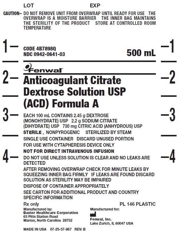 Anticoagulant Citrate Dextrose Solution USP (ACD) Formula A label