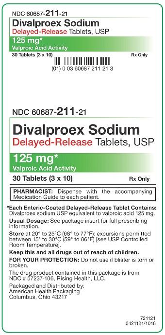 125 mg Divalproex Sodium DR Tablets Carton