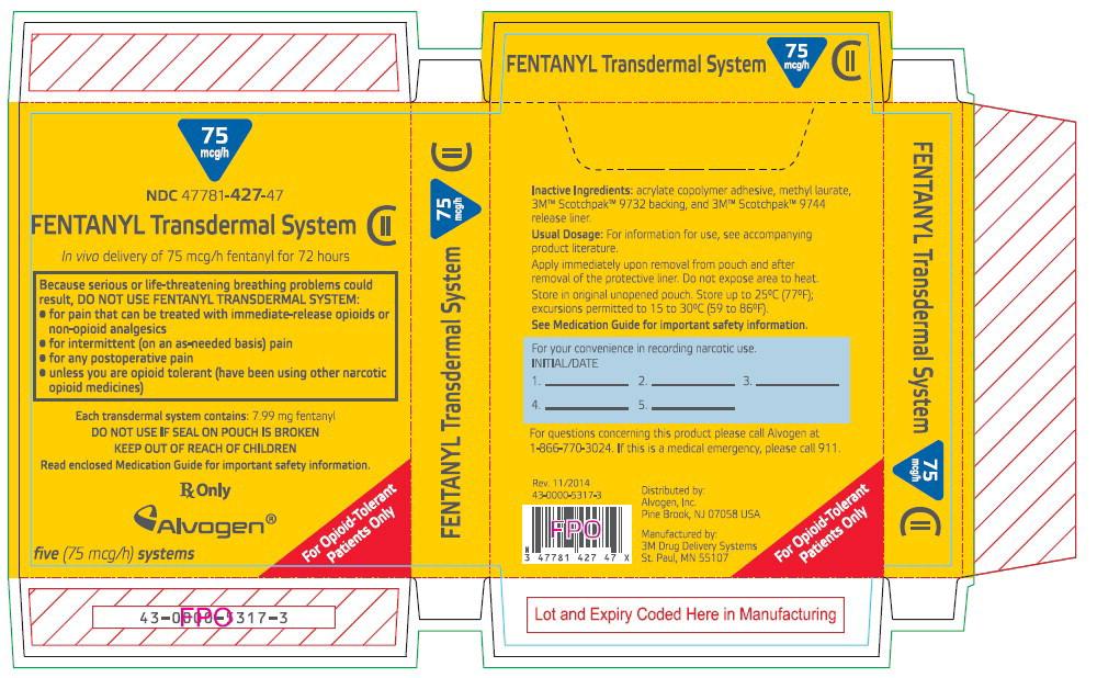 PRINCIPAL DISPLAY PANEL - 75 mcg/h Patch Carton