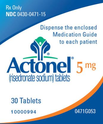 PRINCIPAL DISPLAY PANEL Rx Only NDC: <a href=/NDC/0430-0471-15>0430-0471-15</a> Actonel (risedronate sodium) tablets 5 mg 30 Tablets