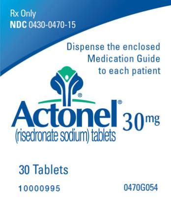 PRINCIPAL DISPLAY PANEL Rx Only NDC: <a href=/NDC/0430-0470-15>0430-0470-15</a> Actonel (risedronate sodium) tablets 30 mg 30 Tablets