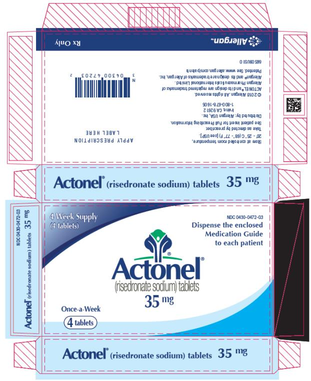 PRINCIPAL DISPLAY PANEL NDC: <a href=/NDC/0430-0472-03>0430-0472-03</a> Actonel (risedronate sodium) tablets 35 mg 4 Week Supply (4 tablets) Rx Only