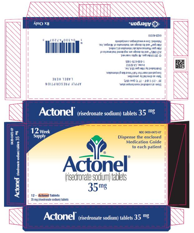 PRINCIPAL DISPLAY PANEL NDC: <a href=/NDC/0430-0472-07>0430-0472-07</a> Actonel (risedronate sodium) tablets 35 mg 12 Week Supply Rx Only
