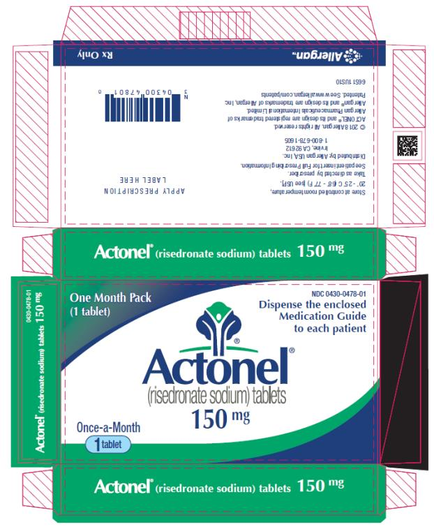 PRINCIPAL DISPLAY PANEL NDC: <a href=/NDC/0430-0478-01>0430-0478-01</a> Actonel (risedronate sodium) tablets 150 mg One Month Pack (1 tablet) Rx Only