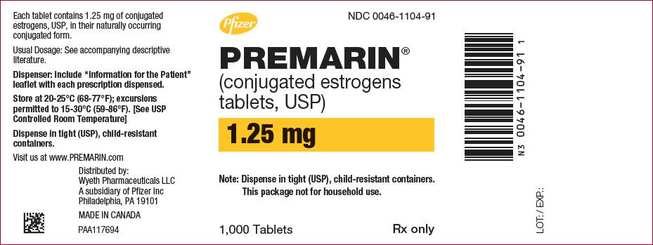 PRINCIPAL DISPLAY PANEL - 1.25 mg Tablet Bottle Label