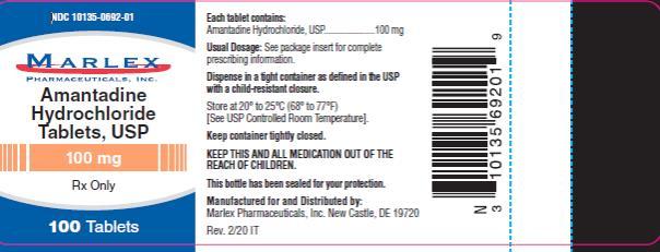 NDC: <a href=/NDC/10135-0692-0>10135-0692-0</a>1 MARLEX Amantadine Hydrochloride Tablets, USP  100 mg Rx Only 100 Tablets
