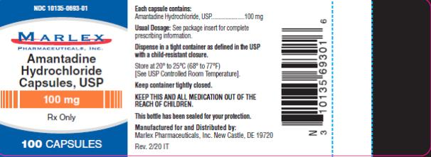 NDC: <a href=/NDC/10135-0693-0>10135-0693-0</a>1 MARLEX Amantadine Hydrochloride Capsules, USP  100 mg Rx Only 100 Capsules