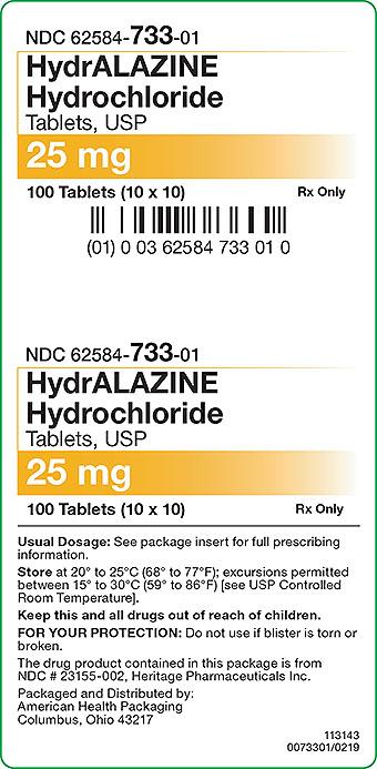 HydrALAZINE Hydrochloride Tablet 25 mg Carton Label