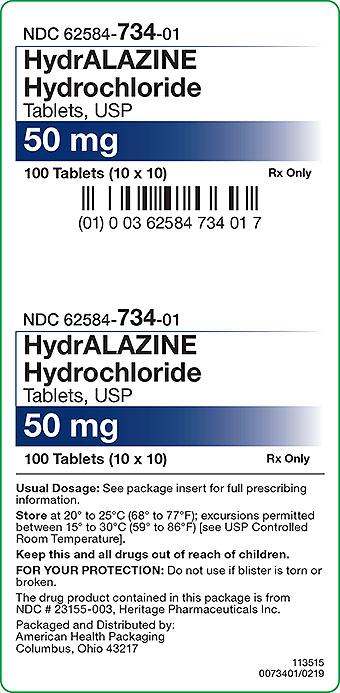 Hydrralazine Hydrochloride 50 mg Carton Label